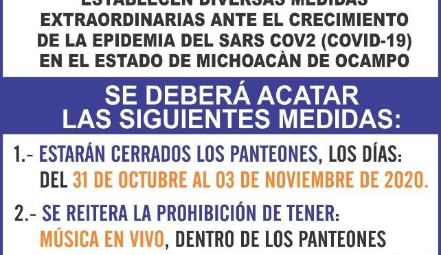 """<h2><span style=""""color: #ffcc00;""""> Ante la pandemia, cerrarán temporalmente los panteones del municipio.</span></h2>"""