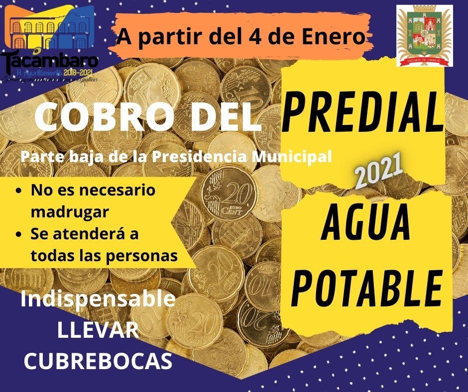 """<h2><span style=""""color: #ffcc00;""""> Lunes 4 de Enero, Ayuntamiento inicia cobro del Impuesto Predial 2021.</span></h2>"""